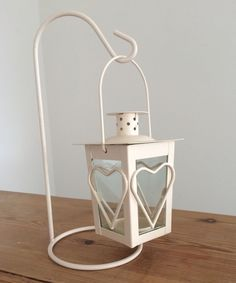 Lovely Hanging Heart Shabby Hanging Chic Tea Light Candle Lantern On Stand New | eBay