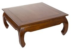 Mesa de centro Opium con patas curvadas para decoraciones exóticas o clásicas. Mesa baja de acacia en color nogal. #muebles #mesas #salón #mesascentro #mobiliario