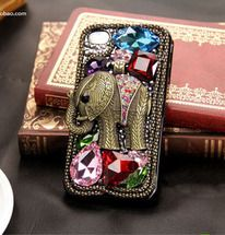 Retro Unique Elephant Rhinestone Hard Cover Case For Iphone 4/4s/5 by shegos