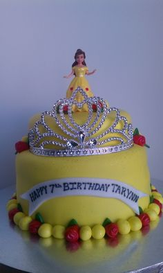 Belle Cake, love the tiara. Could make it purple for Princess Sofia?