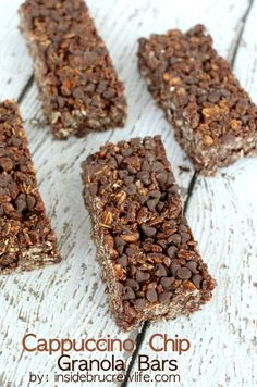 Cappuccino Chip Granola Bars - coffee and chocolate chips give these easy, NO BAKE bars a delicious cappuccino flavor