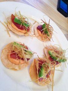 Mini tuna tostada: ponzu scallion marinade, avocado, fried leek. Fun spot to hit in San Diego!