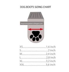 dog boots sizing chart with pattern