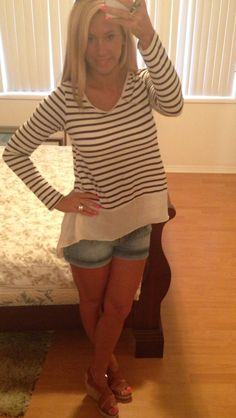 Tan wedges, denim shorts, striped shirt