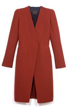 Narciso Rodriguez Rust Textured Wool Coat