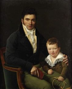 Portrait d'un membre de la famille Barbet et de son fils  (a member of the Barbet family and his son) by Henri-François Riesener (1767–1828)