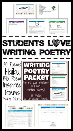 Students write poetry with comfort and ease! In this Writing Poetry Packet, students write 20 different types of poetry including Definition/Anit-Definition Poem, Haiku, Found Poems, 2-Line Poems, Condensed Poetry, Prose Poetry, Memory Poems, Persona Poems, Bio Poems, Title Poems and NINE different poems inspired by famous poets including Emily Dickinson, Langston Hughes, Sandra Cisneros, William Carlos Williams, Shel Silverstein, Lucille Clifton, Edward Lear and Walt Whitman.