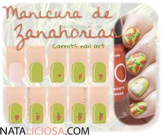 Tutorial paso a paso de Zanahorias en las uñas / How to paint carrots on your nails, step by step, it's super easy and cute!!