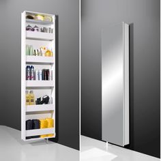 Egmore Mirrored Rotating Bathroom Storage Cabinet In White Will Make A Perfect Addition For Your