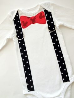 Mickey Mouse Birthday Inspired Bow Tie and Suspenders Applique Onesie or T-Shirt for Baby Boys - 1st Birthday - Bowtie