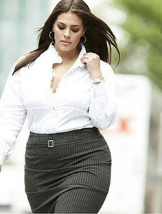 Woman Wearing a Pin-Striped Plus Sized Business Skirt with a White Blouse.