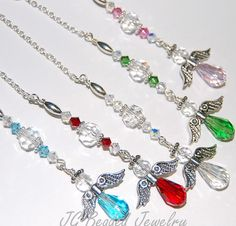 Choose your color guardian angel! These guardian angel crystal decorations can be hung on the rearview mirror as a protection charm, in a window or just about anywhere youd like! Made with detailed lead-free pewter angel wings, Swarovski crystals, faceted German crystals, faceted teardrop glass beads and fancy silver metal beads. Angels They are perfect for a new driver, and are also a nice gift for someone who has experienced the loss of a loved one, or as a remembrance gift. Custom…