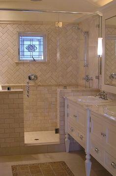 herringbone subway tile; traditional bathroom by Design Moe Kitchen & Bath / Heather Moe designer