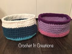 The Beginners Basket Crochet Pattern by Crochet It Creations is a simple project for a super cute basket! Make any color with Bernat Blanket yarn. These are PERFECT for Easter baskets, extra yarn, or storage.