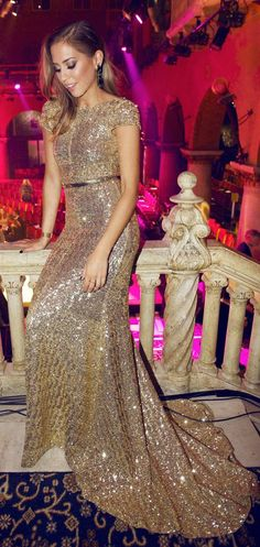 Gold Sequin Maxi Gown by Kenzas