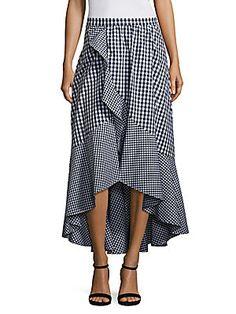 Prose & Poetry Clara High-Waist Ruffled Gingham Skirt