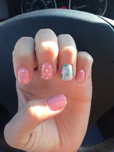 Pink and teal floral mix and match nails