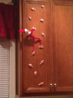 elf on the shelf - candy rock climbing