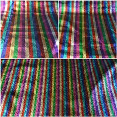 Rainbow Metallic stripe Shiny Foil Lame Dress Craft Dance Fabric Material