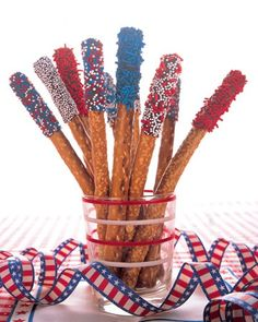 July 4th chocolate covered pretzels.  Cute idea.
