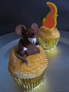 Yes, yes, yes!!!!    R.O.U.S. and Fire Swamp cupcakes inspired by The Princess Bride.