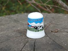 Wisconsin Dairyland Souvenir Thimble, Holstein Cown and Red Barn Type Scene, Porcelain