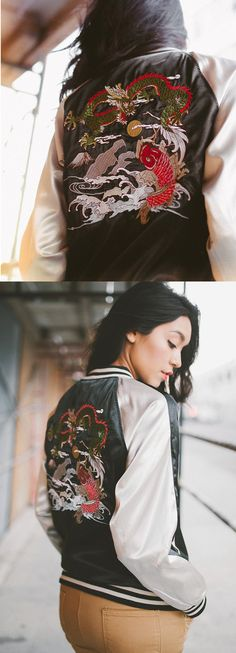 """Dragon Satin Souvenir Jacket  Vintage inspired souvenir jacket with extremely detailed embroidered designs on the front and back. Lightweight feel with a slight oversized fit.  *Machine Wash Cold *100% Polyester *23""""/58cm (Model is 5'10/wearing size S) *Imported"""