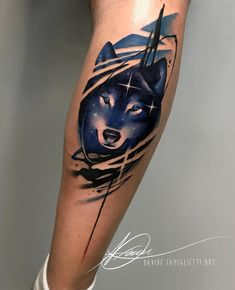 60 Amazing Wolf Tattoos - The Best You'll Ever See - Straight Blasted - A starry wolf by Diamond Tattoo - Wolf Tattoos, Wolf Tattoo Forearm, Feather Tattoos, Animal Tattoos, Body Art Tattoos, Sleeve Tattoos, Men Tattoos, Tattoo Arm, Wolf Tattoo Design