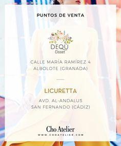 Felices de anunciaros dos nuevos y maravillosos puntos de venta Cho Atelier en Granada y Cádiz. Ya podéis encontrar modelos de nuestra Colección en las boutiques @dequcloset (Albolote, Granada) y @licuretta (San Fernando, Cádiz).