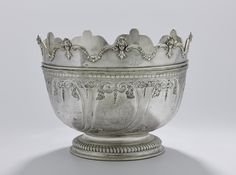 Silver monteith with surface divided into panels and movable rim divided into nine scallops with rococo moulded edges, engraved on one panel with the arms of Eyre, with a peacock crest engraved on the rim. English, by John Smith I Call For Entry, John Smith, Scallops, Rococo, New Art, Peacock, Arms, Surface, English