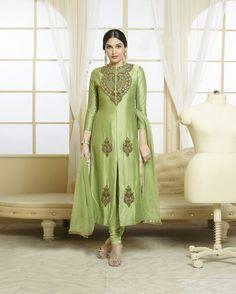 Light Green Cotton Churidar Suit 78973
