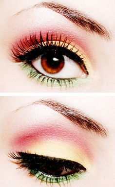 red yellow and green eyeshadow, or I could do this with other colors
