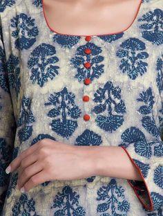 Love the contrast piping. Blue Dabu Printed Cotton Kurta by Lavanya Chudidhar Designs, Chudidhar Neck Designs, Salwar Neck Designs, Neck Designs For Suits, Kurta Neck Design, Neckline Designs, Dress Neck Designs, Kurta Designs Women, Printed Kurti Designs