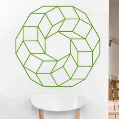 Eyval Decal Cubed Ring Sacred Geometry Vinyl Wall Decal Color: Lime Green, Size: H x W Horse Wall Decals, Flower Wall Decals, Vinyl Wall Decals, Geometric Art, Geometric Designs, Sacred Geometry Art, Geometry Tattoo, Monte Fuji, Modern Wall Decals