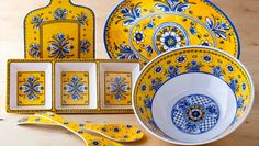 Beautiful yellow & blue serving pieces.