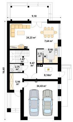 DOM.PL™ - Projekt domu MT Amarylis 5 paliwo stałe CE - DOM MS4-01 - gotowy koszt budowy Beautiful House Plans, Modern House Plans, Beautiful Homes, House Floor Design, Bungalow Conversion, Home Fashion, Kitchen Design, Floor Plans, Flooring
