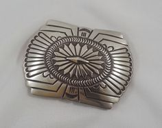 Native American Belt Buckle Sterling Silver Signed Ray M Vintage