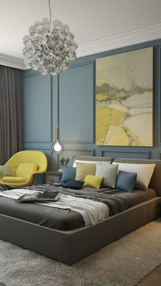 contemporary bedroom with blue and yellow accents and glass light fixtures