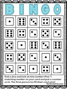 Roll a dice math bingo Math Games For Kids, Kindergarten Games, Learning Games, Preschool Activities, Kids Learning, Math Games With Dice, Monster Games For Kids, Bingo For Kids
