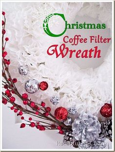 coffee filter christmas wreath, crafts, seasonal holiday d cor, wreaths, White coffee filters with some added decorations of your choice