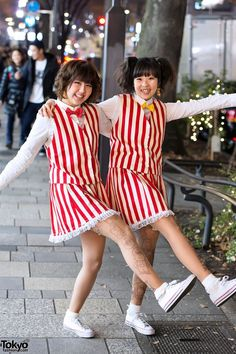 Two #fun girls who we spotted on the street in Harajuku with their matching striped outfits! <3 so cute! #tokyofashion is love.