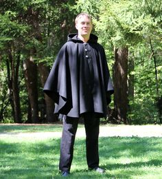 Black Cape - Mens Cape - Wool Cape -  Three Button Cape