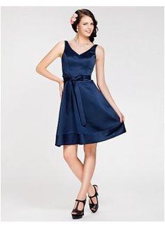 Elegant A-line V-neck Kee-length Satin Bridesmaid Dress