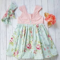 Tea party dress with matching bow headband pink and by cruzbysw