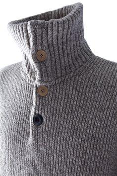 Pull en laine col cheminée pour Homme Arpin. Ce pull en lainage épais chiné, 4a929cf0b34