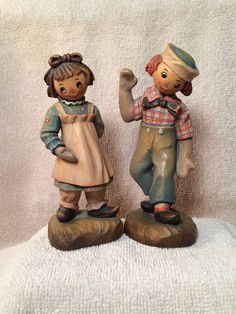 Vintage Raggedy Ann & Andy Figurines By The Bobbs-Merrill Company ©1976