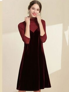 Fake Two Piece Velour High Collar A-Line Dress