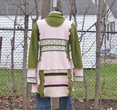 Vintage Revamped, Upcycled Sweater Coat, Upcycled Clothing, Recycled Sweaters, Vintage Clothing, Size Medium/Large. $85.00, via Etsy.