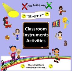 """Grades 3-6 Rev-Up your classroom with this EASY to Read and Play original Classroom Instrument arrangement of the Pop Song: """"Happy"""" by the Pharrell Williams from the Despicable Me 2 Film Soundtrack. Version 1: Picture Graph Version 2: Traditional Music Notation: Quarter Notes, Quarter Rests, Double Eighth Notes, Single Eighth Notes, Single Eighth Rest Color Coded for easy read. Classroom Instruments Used:  Small Drums  Large Drums  Cow Bells  Rhythm Sticks  Tambourines  Maracas  Clapping"""