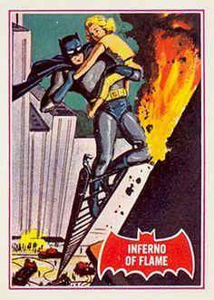 """1966 Topps Batman """"Red Bat"""" series, card #40, Inferno of Flame"""